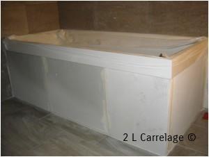 Tablier de baignoire Siporex. Réalisation de tablier de baignoire en siporex avant la pose de faience.